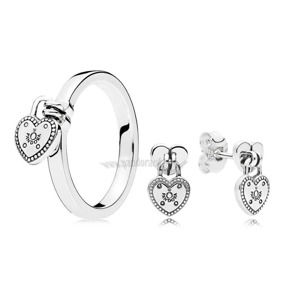 Crea Il Tuo Amore Lock Anelli And Earring pandoracharm