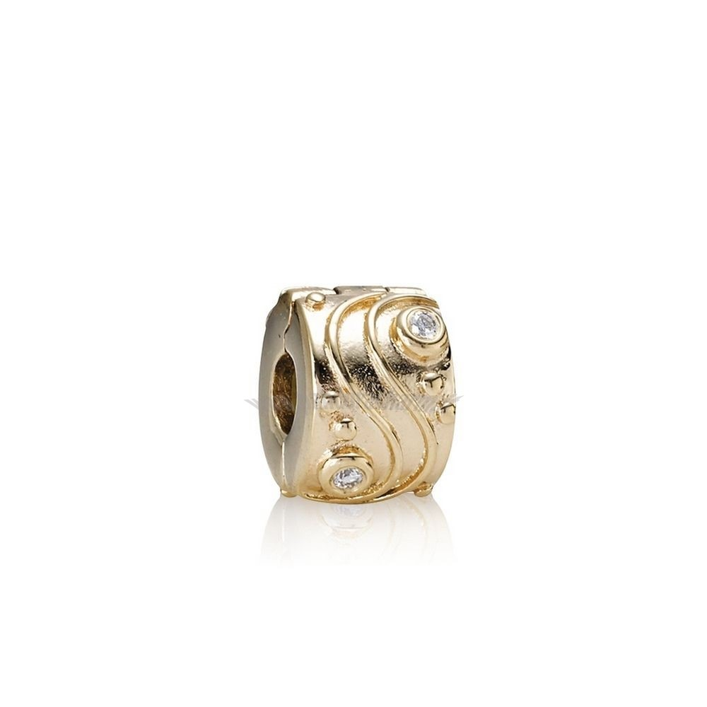 Crea Il Tuo Babbling Ruscello Abstract Gold Clip Diamonds pandoracharm
