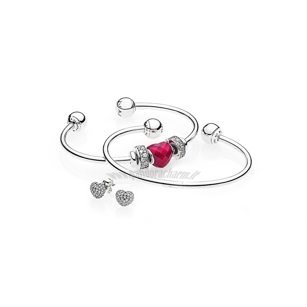 Crea Il Tuo Be Mine Stacked Open Bangle Regalo pandoracharm