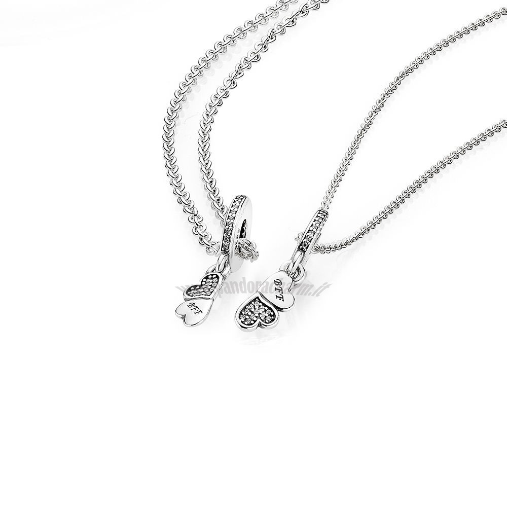 Crea Il Tuo Hearts Silver Dangle With Clear Cubic Zirconia And Necklace pandoracharm