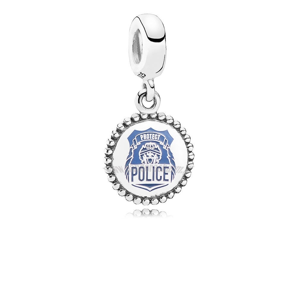 Crea Il Tuo Police Dangle Charm Blue Enamel pandoracharm